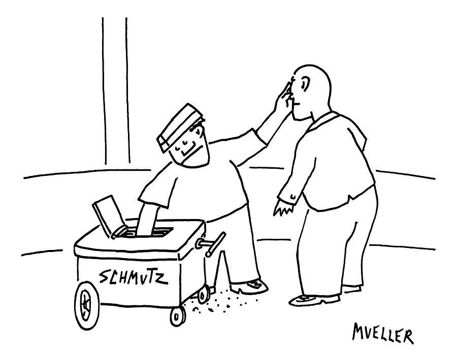 A Street-vendors Cart Is Labeled Shmutz Drawing by Peter Mueller