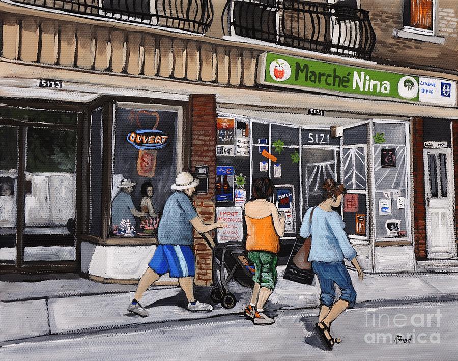 Verdun Painting - A Stroll Down Wellington Street In Verdun by Reb Frost