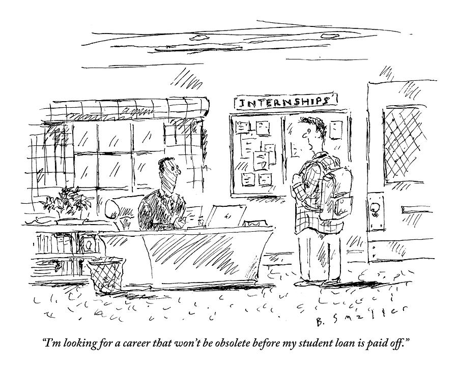 A Student Goes To The Career Office For Advice Drawing by Barbara Smaller