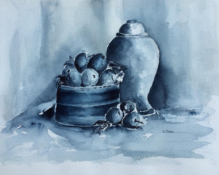 Still Life Painting - A Study In Blue by Stephanie Sodel
