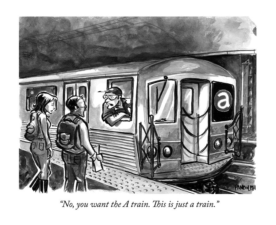 A Subway Conductor Drives A Train Marked Drawing by Corey Pandolph