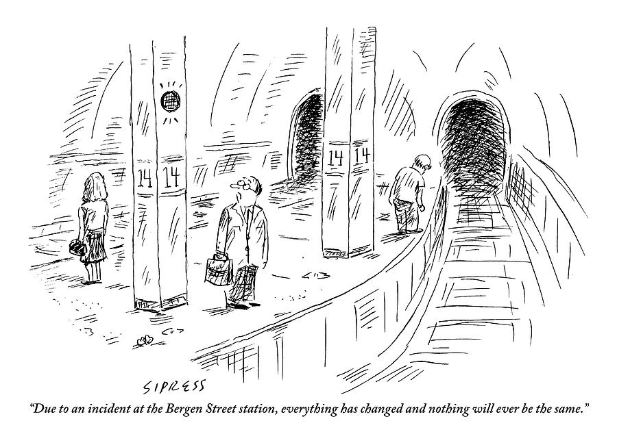 A Subway Rider Hears A Subway Announcement Drawing by David Sipress