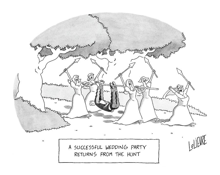 A Successful Wedding Party Returns From The Hunt Drawing by Glen Le Lievre