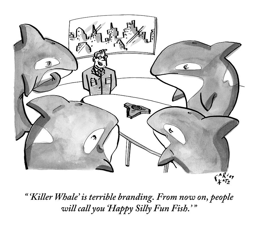 A Suited Man Speaks To A Group Of Killer Whales Drawing by Farley Katz