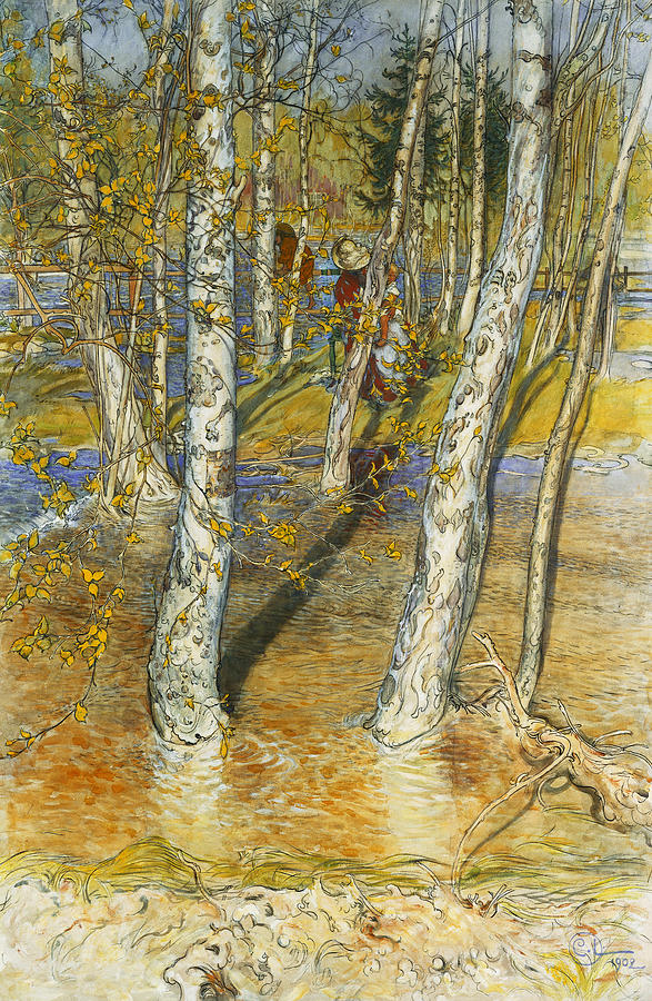 Trees Painting - A Summer Day On A Norwegian Fjord by Hans Dahl