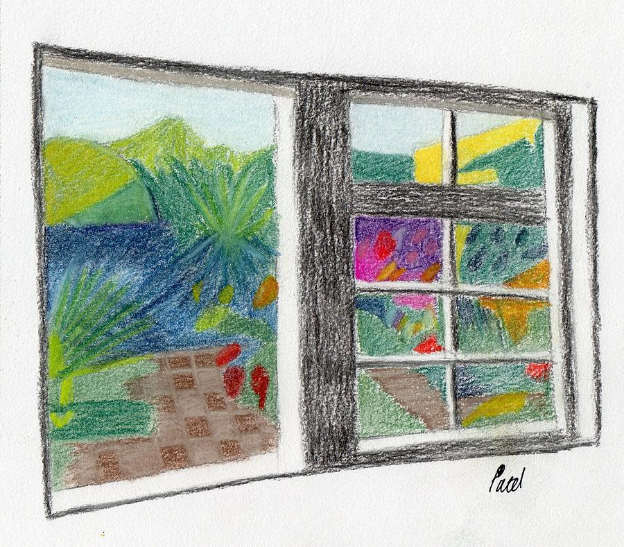 Summer Garden Drawing - A Summer Garden by Bav Patel
