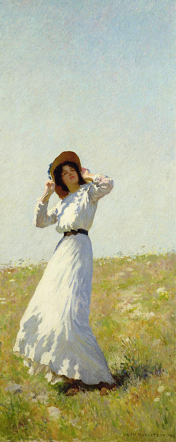 Woman Painting - A Summes Day by William Henry Margetson