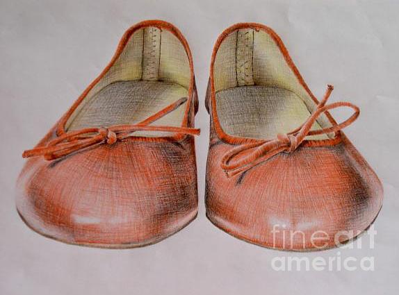 Shoes Drawing - A Sunday Walk by Katharina Filus