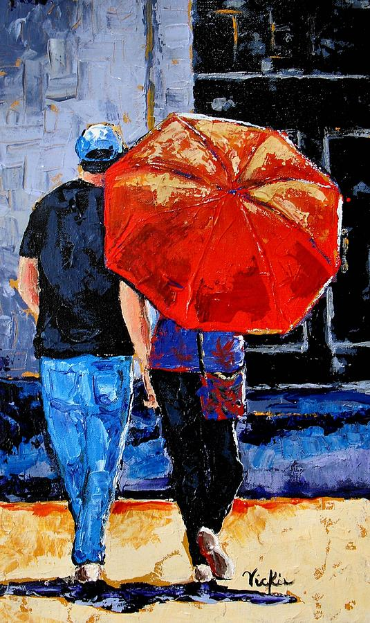 Umbrella Painting - A Sunny Monet by Vickie Warner