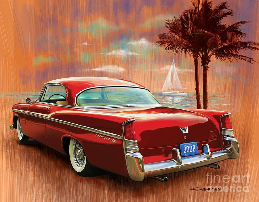 1956 Digital Art - A Sunset Sail In The 300b by Sean  Svendsen