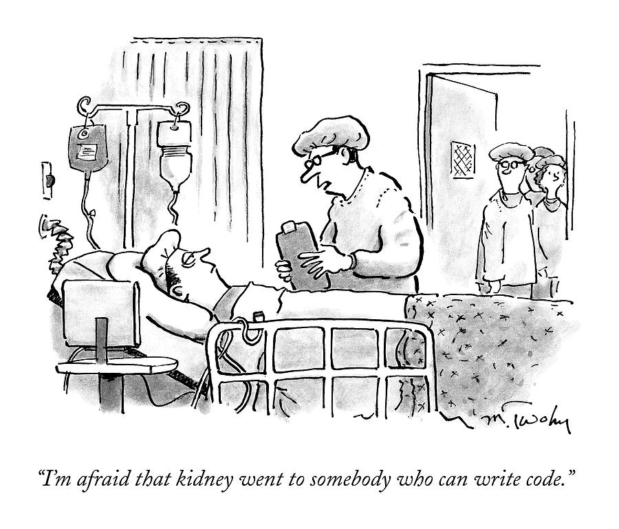 A Surgeon Talks To A Sick Patient In A Hospital Drawing by Mike Twohy