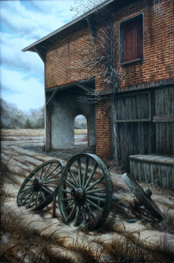 Old Wagon Wheels Painting - A Surrender To Nature by William Albanese Sr