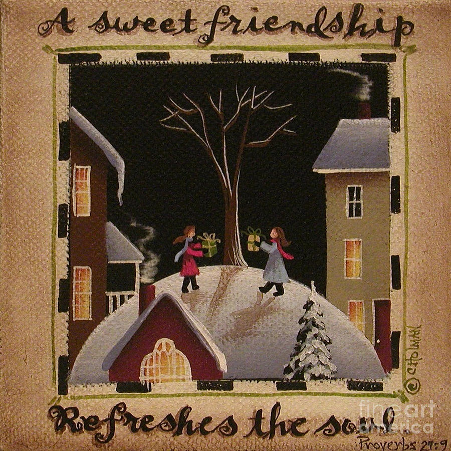 Print Painting - A Sweet Friendship  Winter by Catherine Holman