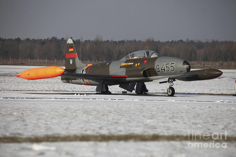 Aircraft Photograph - A T-33 Shooting Star Trainer Jet by Timm Ziegenthaler