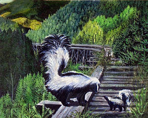 Wildlife Painting - A Talk With Stinky by Carl McKinley