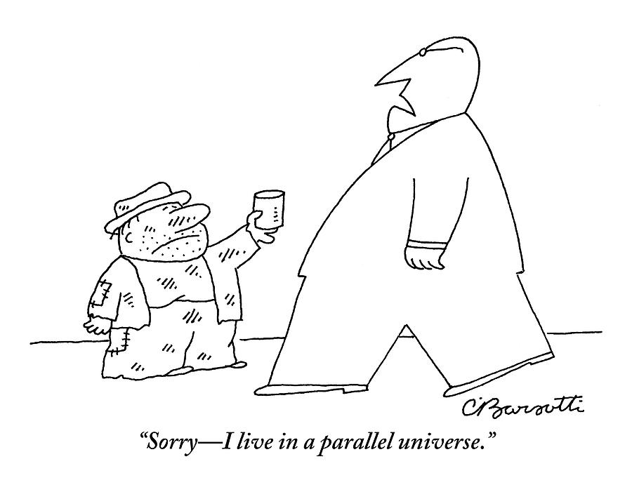 A Tall, Well-dressed Man Walks Past A Much Drawing by Charles Barsotti