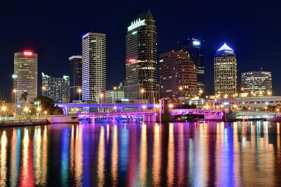 Tampa Photograph - A Tampa Bay Night by Frozen in Time Fine Art Photography
