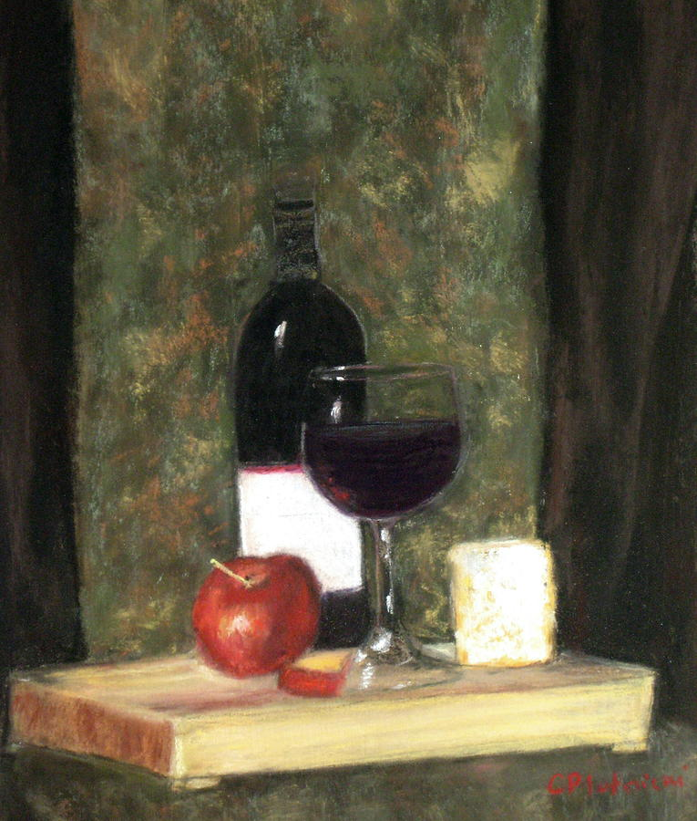 Wine Painting - A Taste Of Merlot by Cindy Plutnicki