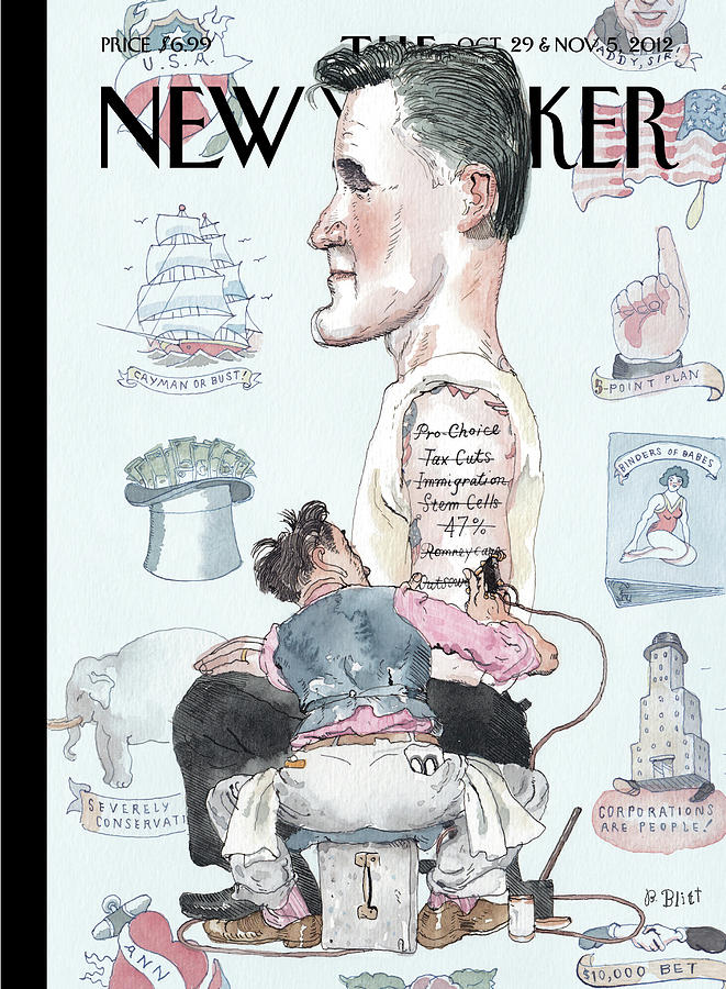 A Tattoo Artist Performs On A Presidential Painting by Barry Blitt