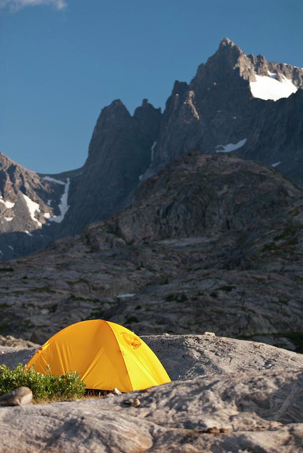 Adventure Photograph - A Tent Is Dwarfed By The High Peaks by Jeff Diener