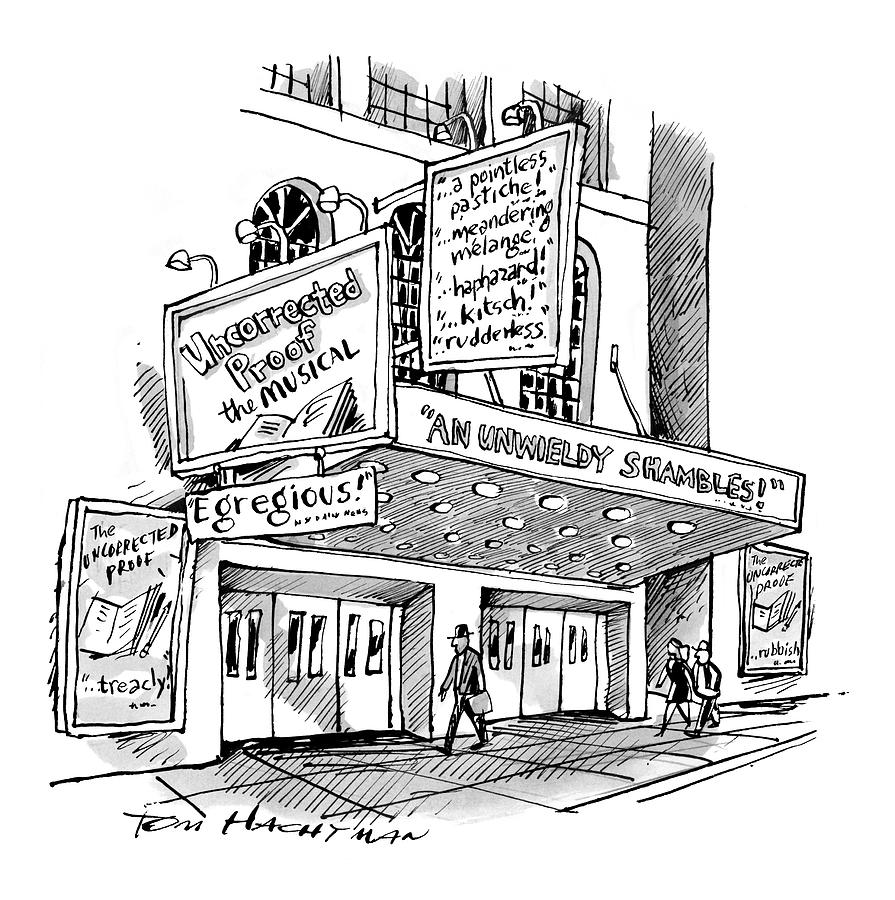 A Theater Marquee Advertises A Show Called Drawing by Tom Hachtman