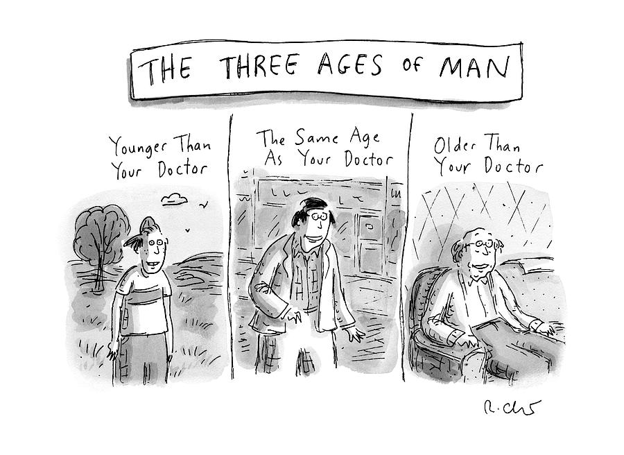 A Three Panel Images That Have Three Men: Drawing by Roz Chast
