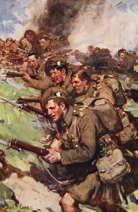 World War I Drawing - A Thrilling Charge, Illustration by Cyrus Cuneo