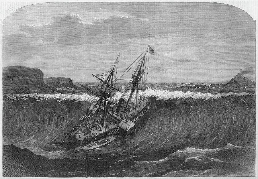 A Tidal Wave Following An Earthquake Drawing By Illustrated London