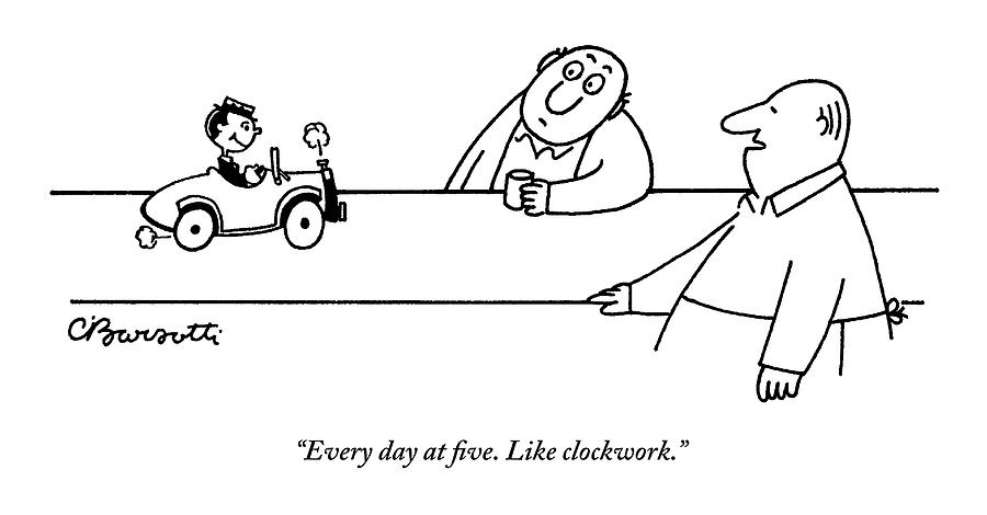 A Tiny Man In A Tiny Car Drives On A Bar Drawing by Charles Barsotti