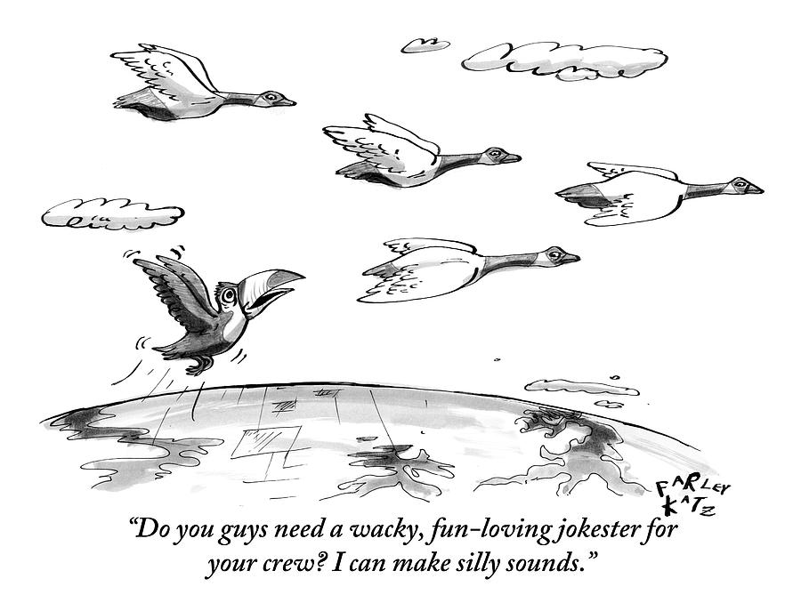 Birds Drawing - A Toucan Tries To Catch Up With Migrating Canada by Farley Katz