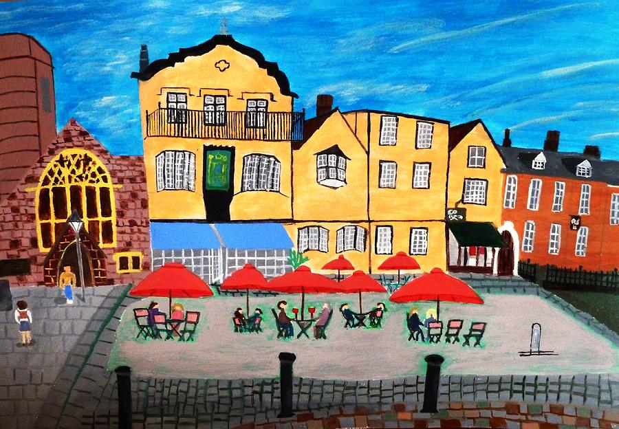 A town square on a clear day by Magdalena Frohnsdorff
