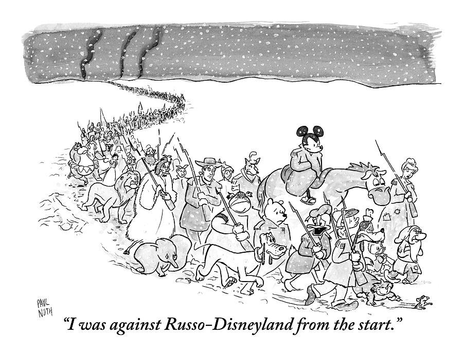 A Trail Of People And Disney Characters March Drawing by Paul Noth