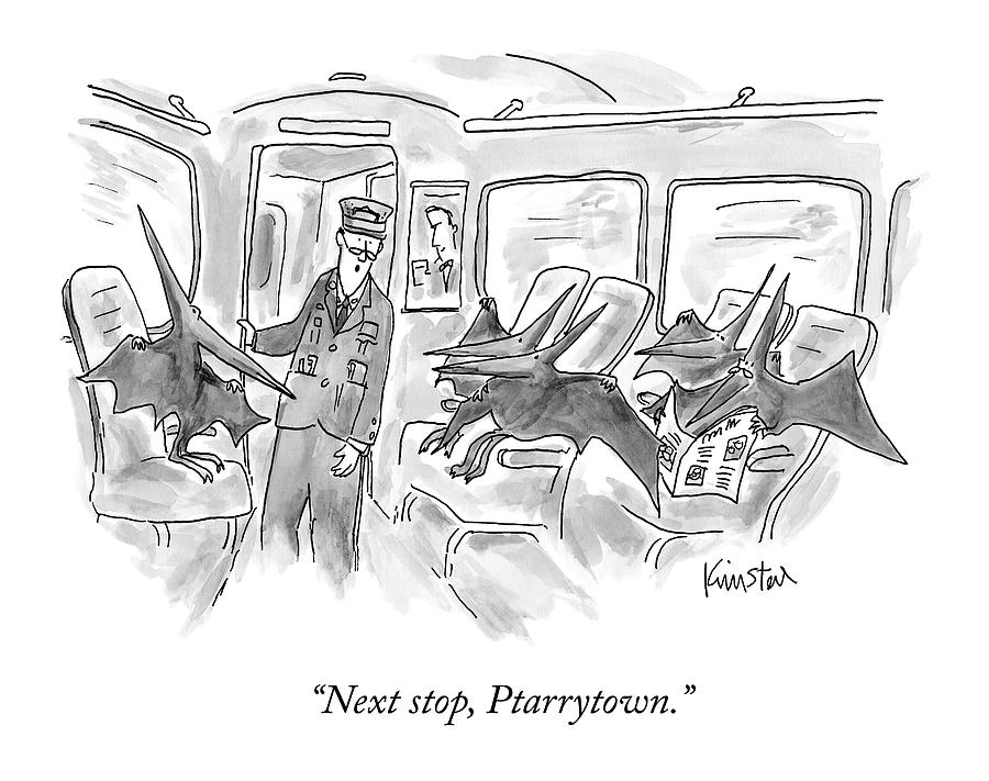 A Train Conductor Makes An Announcement To A Car Drawing by Ken Krimstein