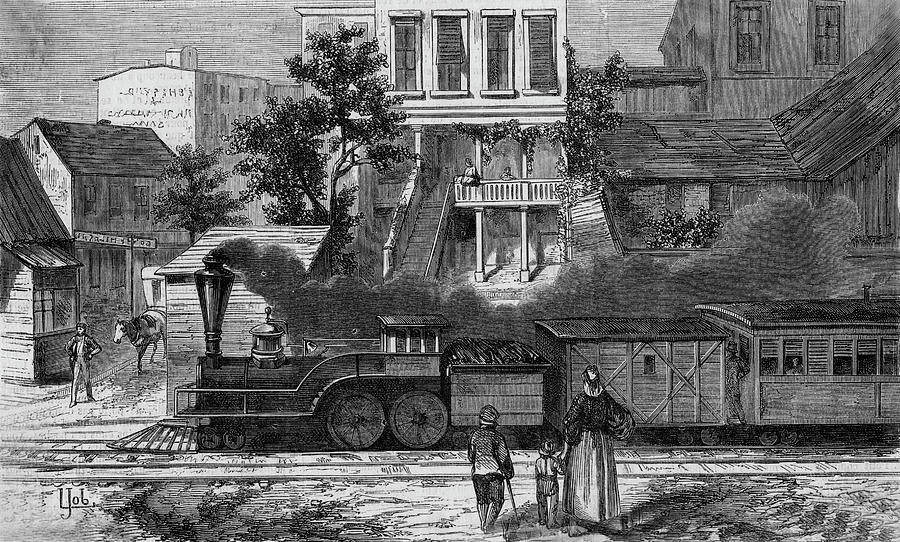 Train Drawing - A Train Of The Camden & Amboy by Mary Evans Picture Library
