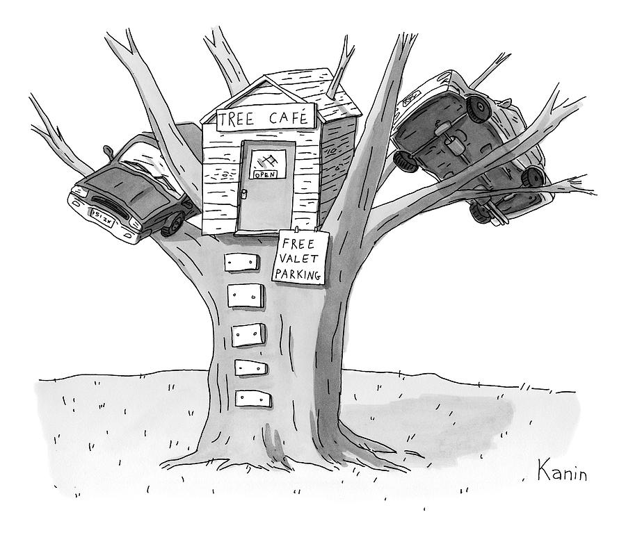 A Tree House With The Sign tree Cafe Is Seen Drawing by Zachary Kanin