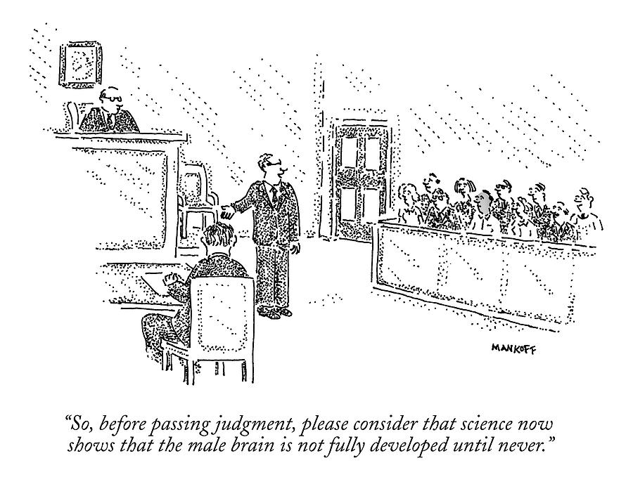 Men Drawing - A Trial Lawyer Addresses A Grand Jury by Robert Mankoff