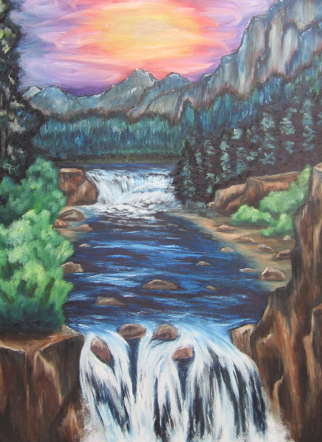 Mountains Painting - A Trip Thru The Mind by Cheryl Pettigrew