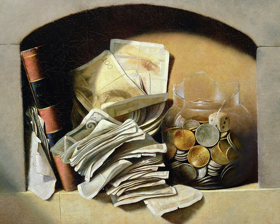 Still-life Painting - A trompe loeil of paper money coins by French School