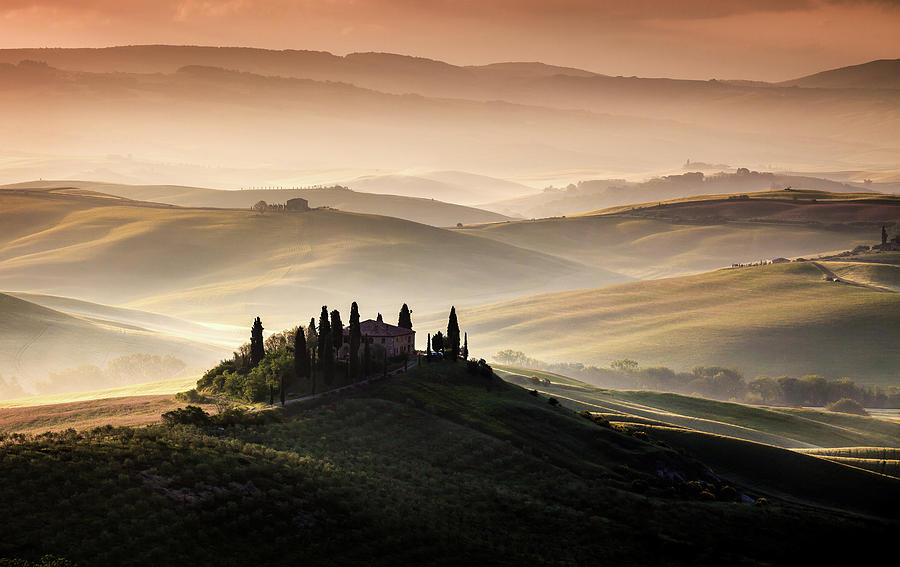 Tuscany Photograph - A Tuscan Country Landscape by Sus Bogaerts