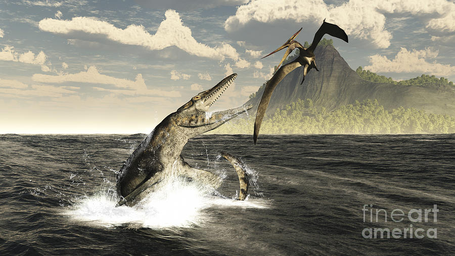 Extinct Digital Art - A Tylosaurus Jumps Out Of The Water by Arthur Dorety