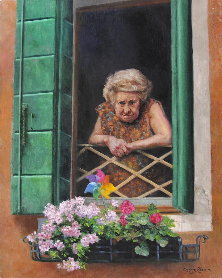 Venice Painting - A Venetian Spectator by Anna Rose Bain
