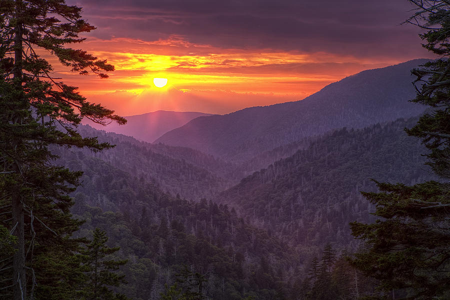 Smokies Photograph - A View At Sunset by Andrew Soundarajan