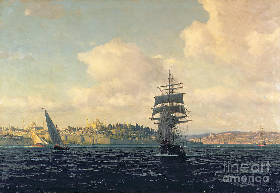 Boat Painting - A View Of Constantinople by Michael Zeno Diemer