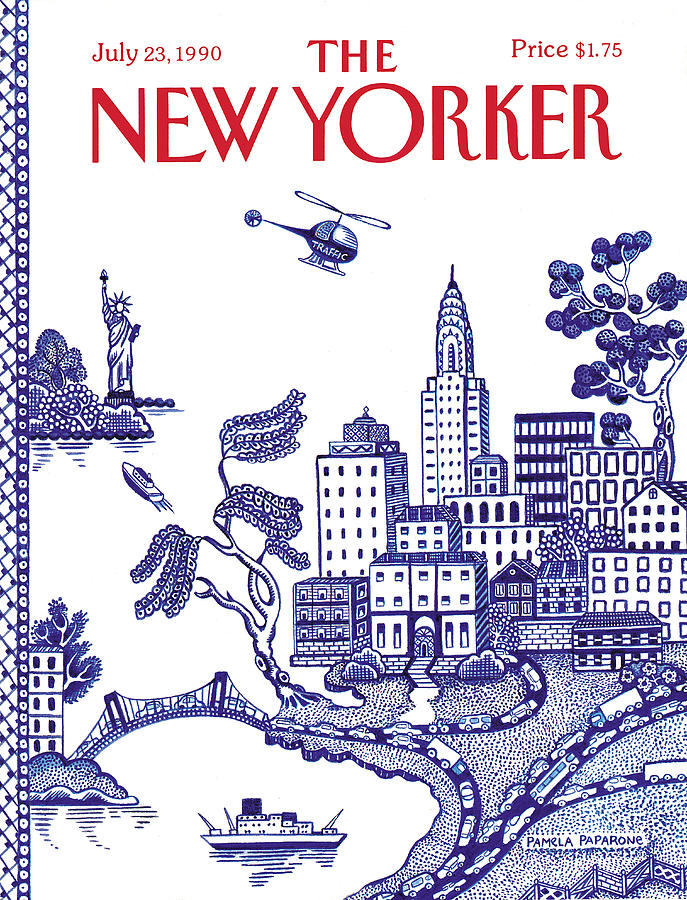 New York City Painting - New Yorker July 23, 1990 by Pamela Paparone