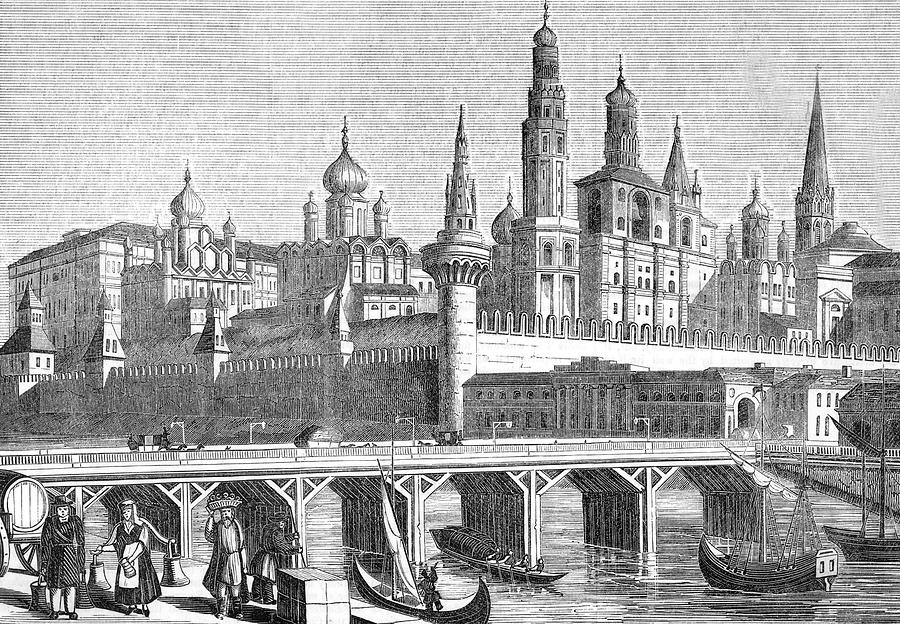 Kremlin Drawing - A View Of The Kremlin From The River by Mary Evans Picture Library