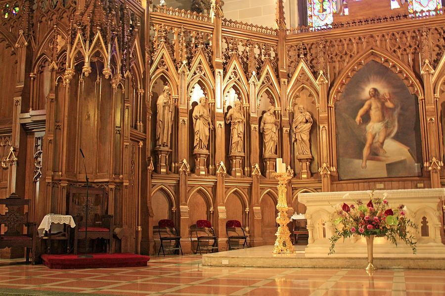 Statue Photograph - A View Of The St. Patrick Old Cathedral Altar Area by James Connor