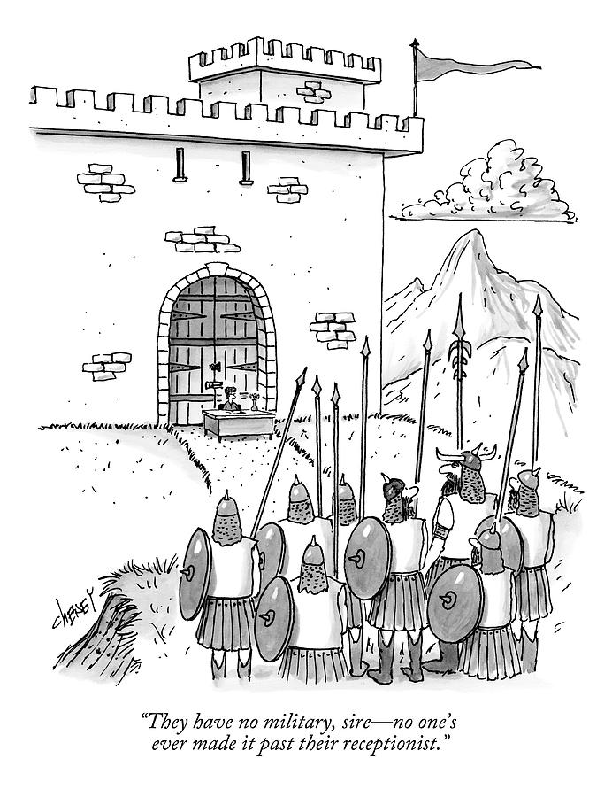 A Viking Army Stands Before A Castle Gate Where Drawing by Tom Cheney