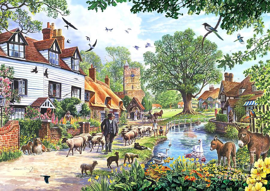 A Village In Spring Digital Art By Steve Crisp