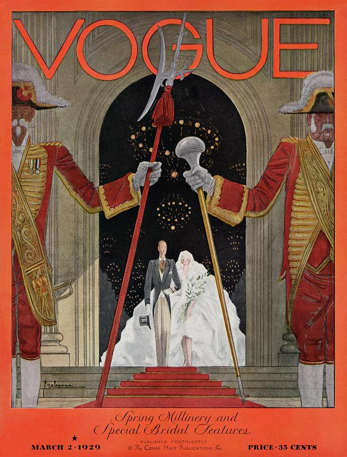 A Vintage Vogue Magazine Cover Of A Father Photograph by Georges Lepape