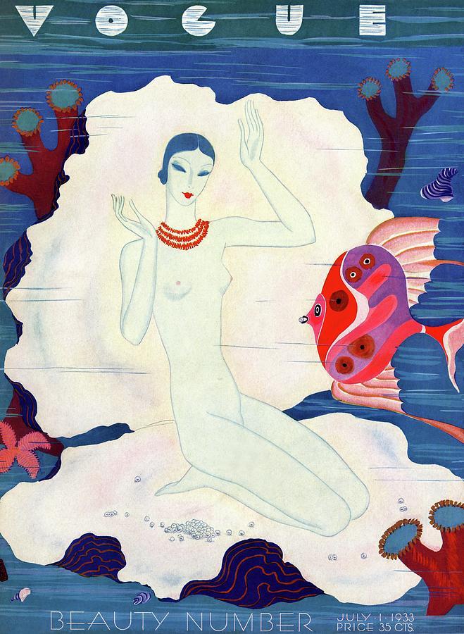 A Vintage Vogue Magazine Cover Of A Naked Woman Photograph by Eduardo Garcia Benito
